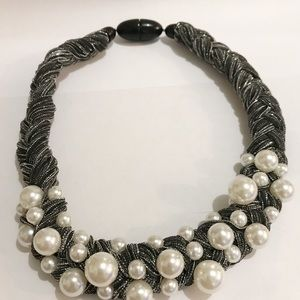 Black Braided Faux Pearl Chunky Statement Necklace